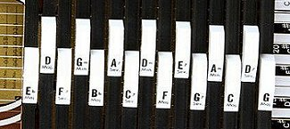 A 15-button Autoharp that allows you to play in any key between Bb and D.  Click for bigger picture.